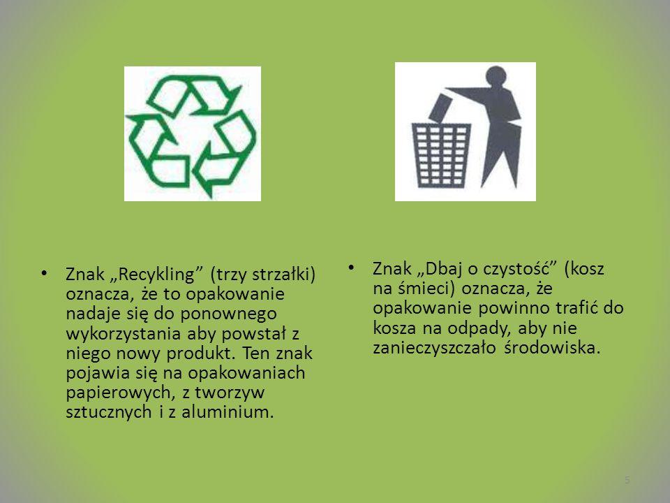 """Znak """"Dbaj o czystość (kosz na śmieci) oznacza, że opakowanie powinno trafić do kosza na odpady, aby nie zanieczyszczało środowiska."""