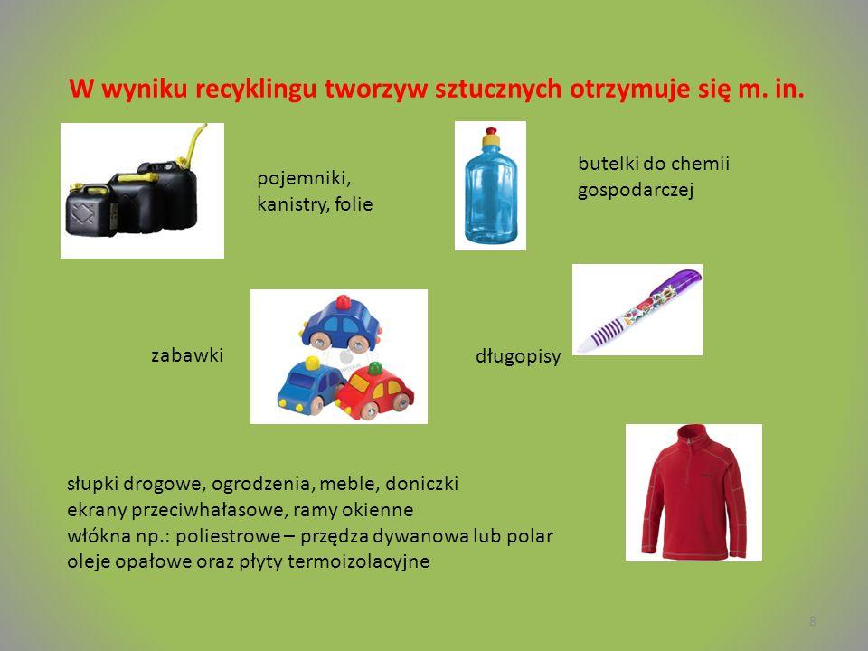 W wyniku recyklingu tworzyw sztucznych otrzymuje się m. in.