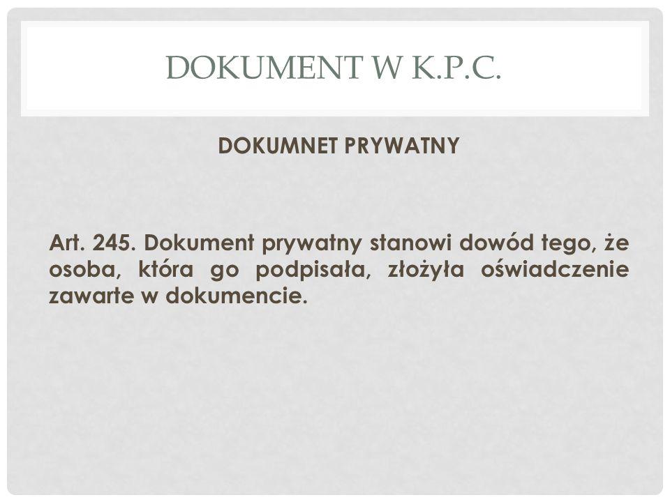 Dokument W K.P.C. DOKUMNET PRYWATNY