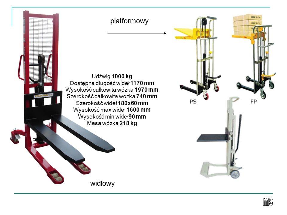 platformowy widłowy Udźwig 1000 kg Dostępna długość wideł 1170 mm
