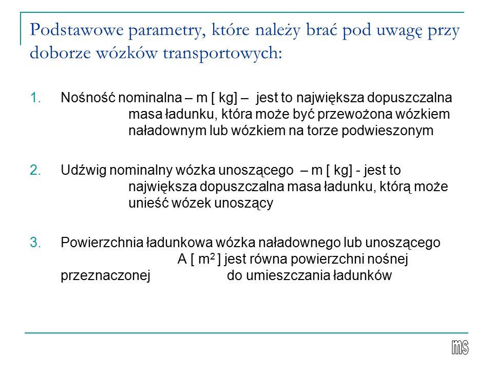 Podstawowe parametry, które należy brać pod uwagę przy doborze wózków transportowych: