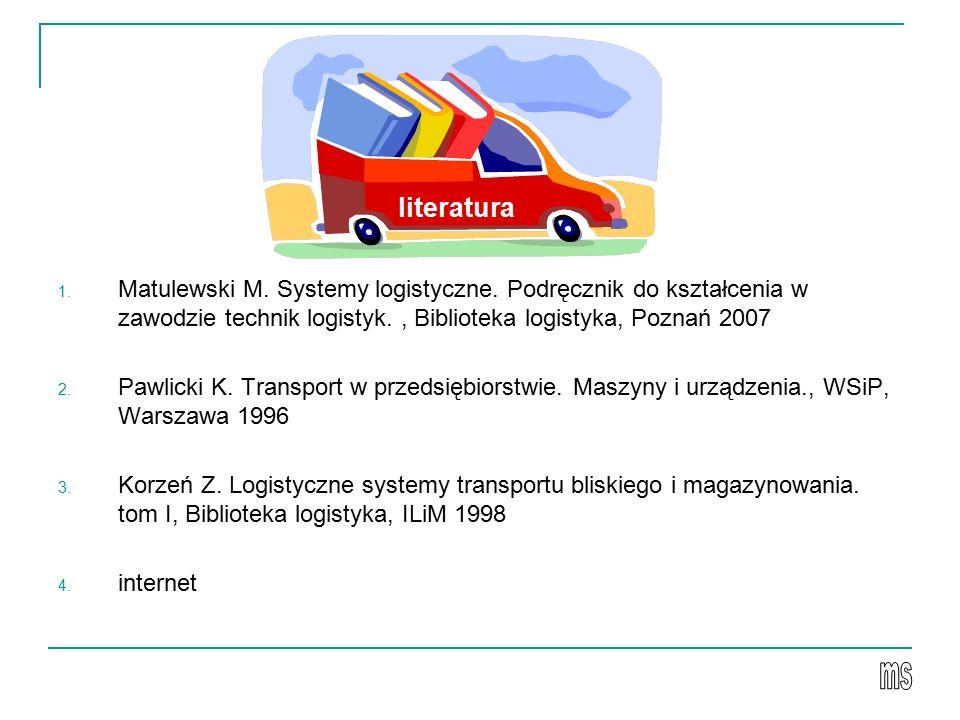 literatura Matulewski M. Systemy logistyczne. Podręcznik do kształcenia w zawodzie technik logistyk. , Biblioteka logistyka, Poznań 2007.
