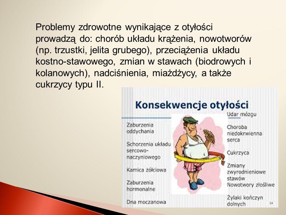 Problemy zdrowotne wynikające z otyłości prowadzą do: chorób układu krążenia, nowotworów (np.
