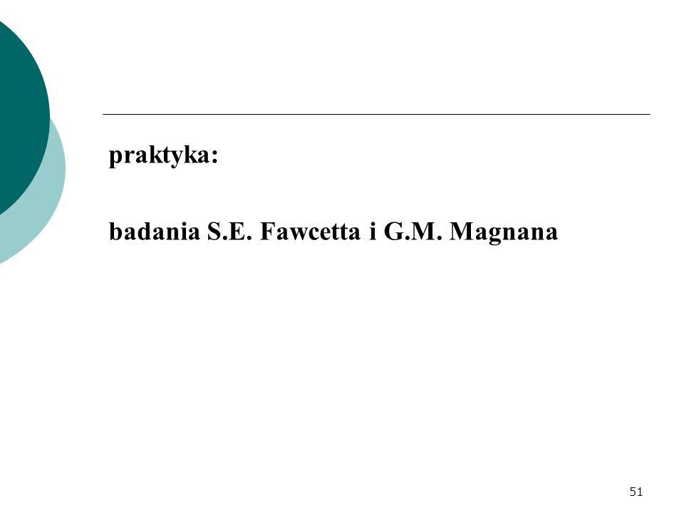 praktyka: badania S.E. Fawcetta i G.M. Magnana