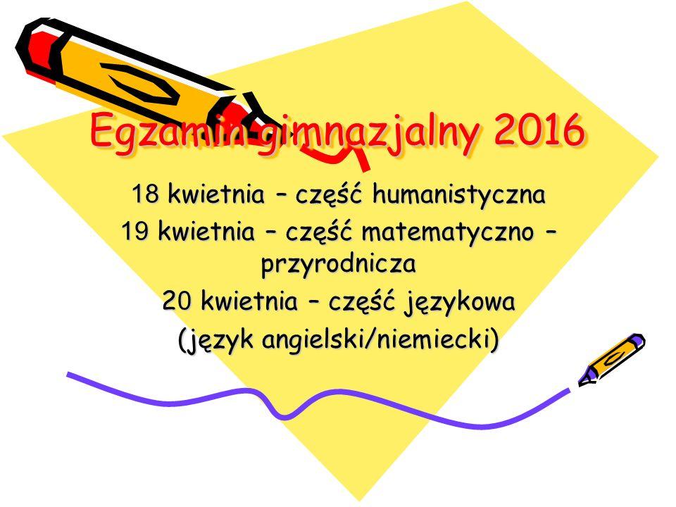 Egzamin gimnazjalny 2016 18 kwietnia – część humanistyczna