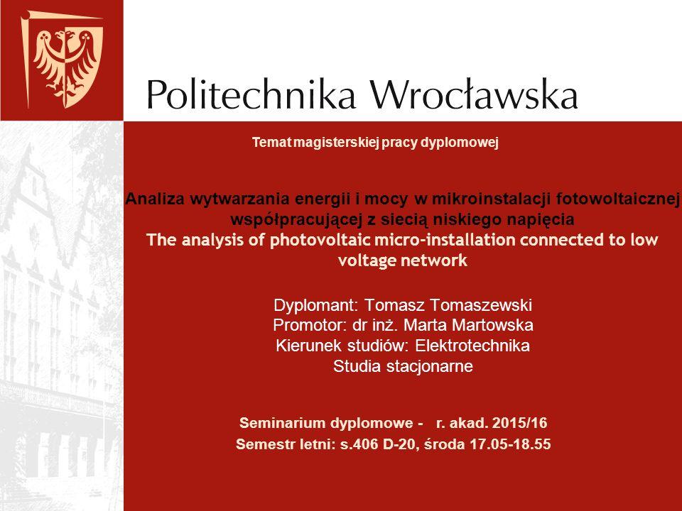 Dyplomant: Tomasz Tomaszewski Promotor: dr inż. Marta Martowska