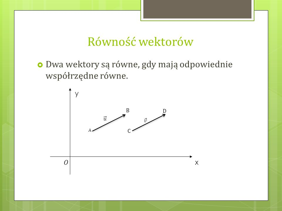 Równość wektorów Dwa wektory są równe, gdy mają odpowiednie współrzędne równe. A B 𝑢 C D 𝑣 y x O
