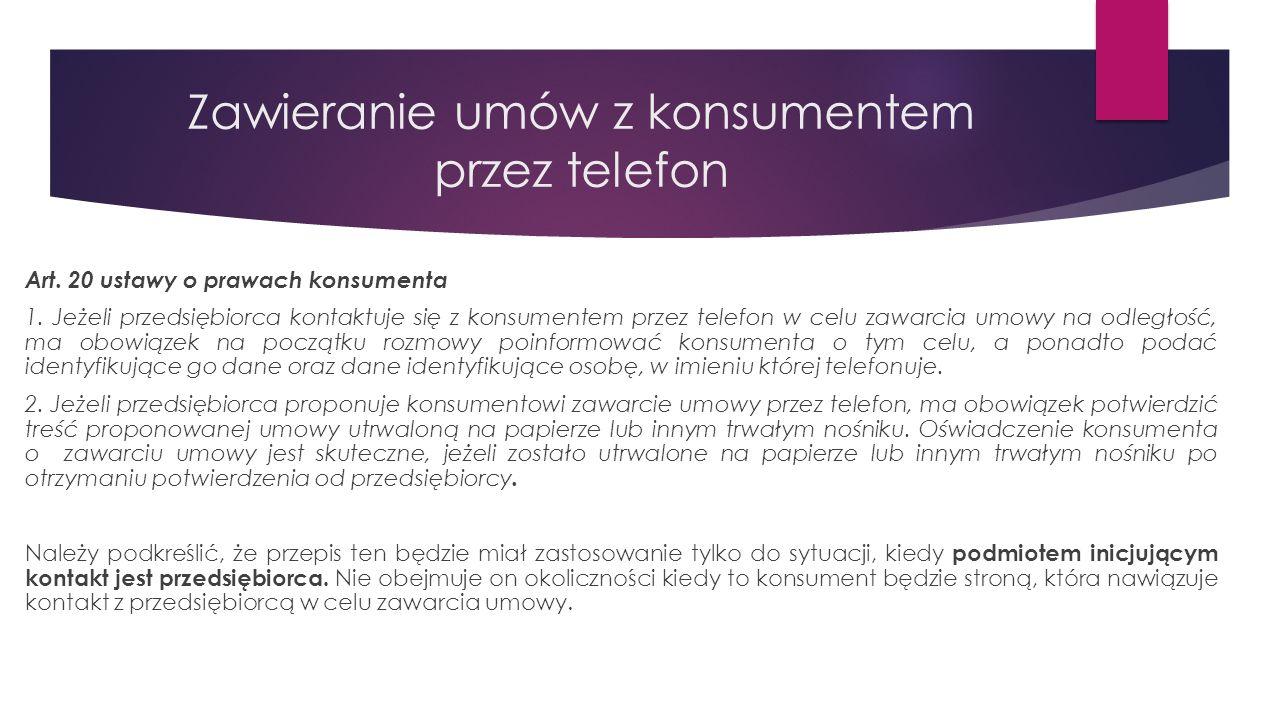 Zawieranie umów z konsumentem przez telefon