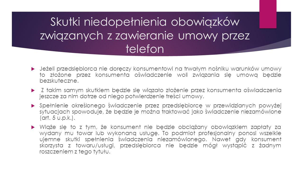 Skutki niedopełnienia obowiązków związanych z zawieranie umowy przez telefon