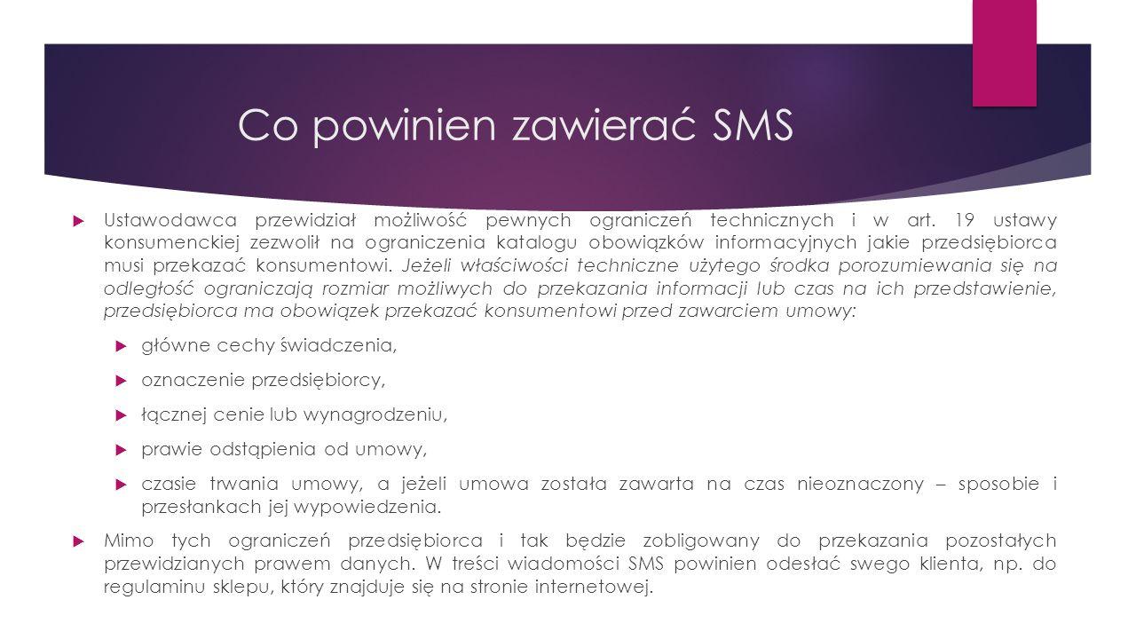 Co powinien zawierać SMS