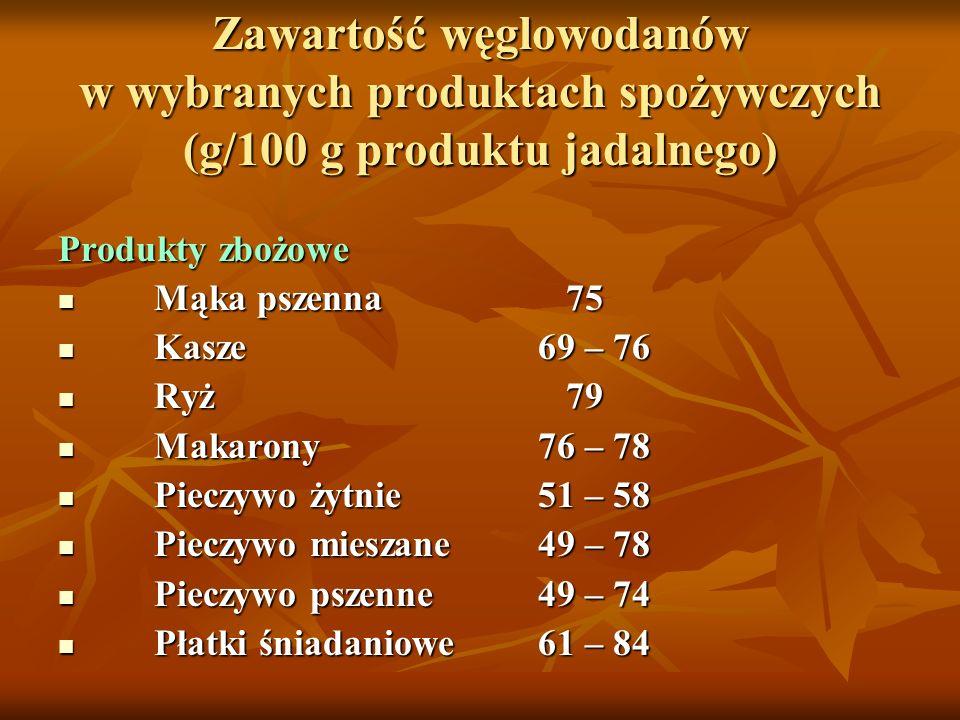 Zawartość węglowodanów w wybranych produktach spożywczych (g/100 g produktu jadalnego)