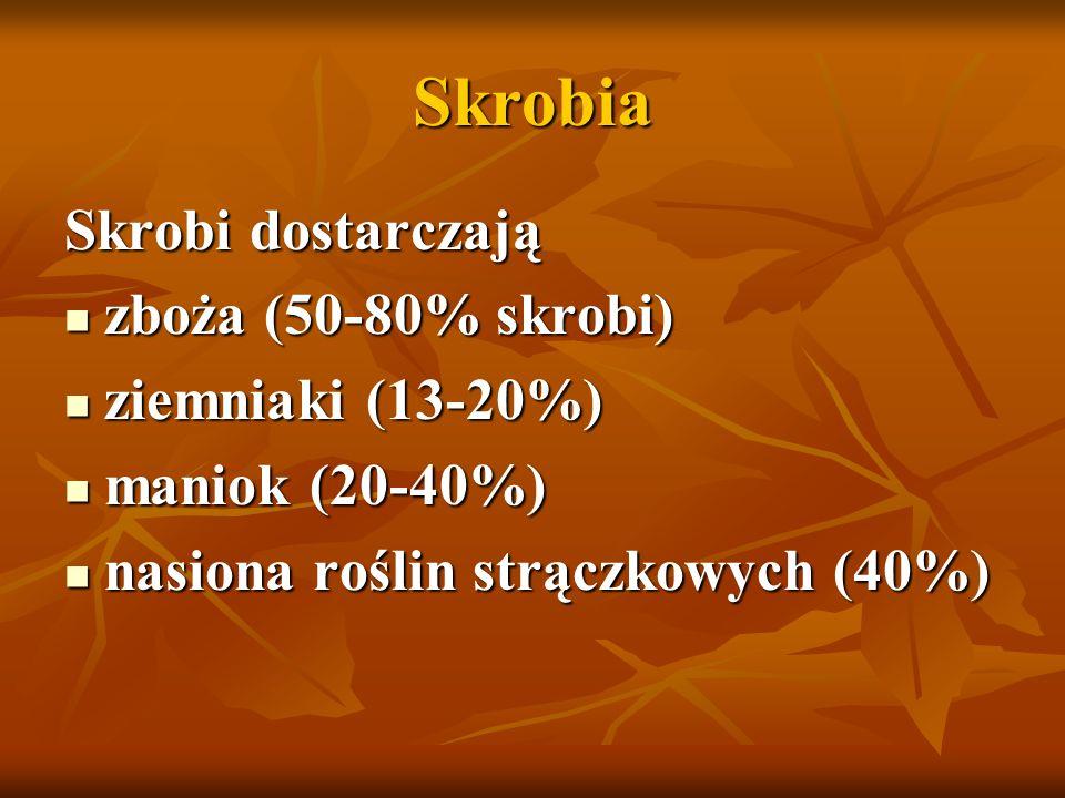 Skrobia Skrobi dostarczają zboża (50-80% skrobi) ziemniaki (13-20%)