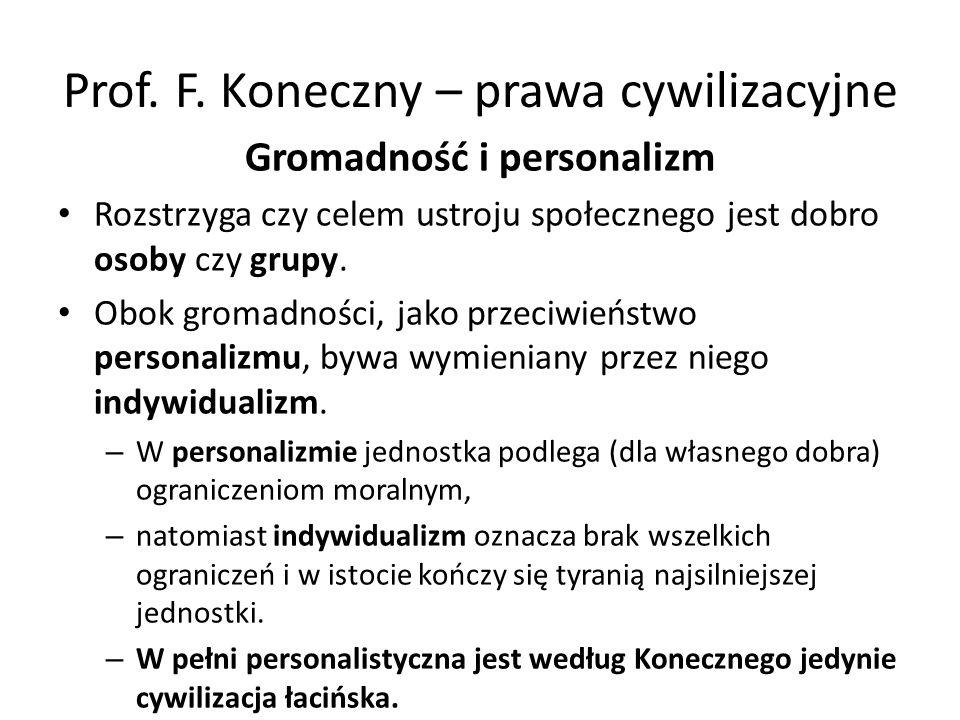 Prof. F. Koneczny – prawa cywilizacyjne