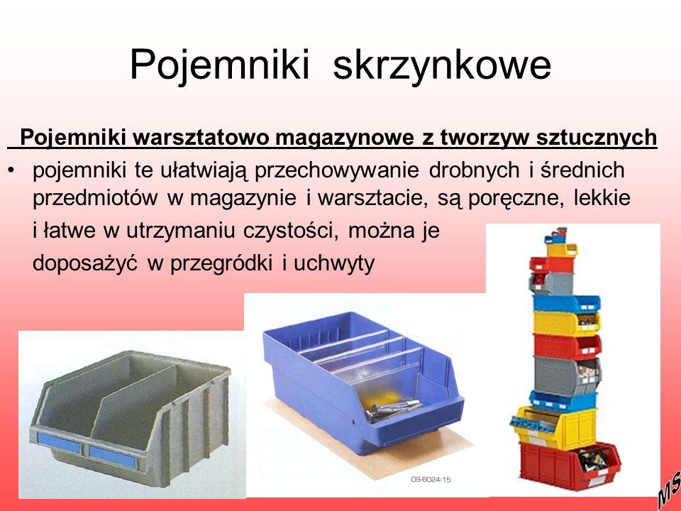 Pojemniki skrzynkowe Pojemniki warsztatowo magazynowe z tworzyw sztucznych.