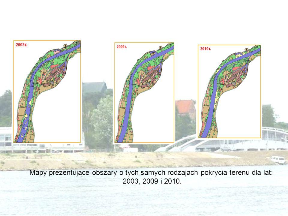 Mapy prezentujące obszary o tych samych rodzajach pokrycia terenu dla lat:
