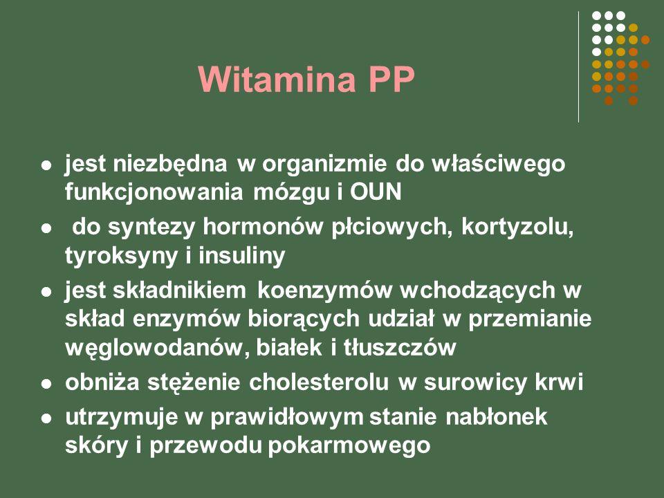 Witamina PP jest niezbędna w organizmie do właściwego funkcjonowania mózgu i OUN. do syntezy hormonów płciowych, kortyzolu, tyroksyny i insuliny.