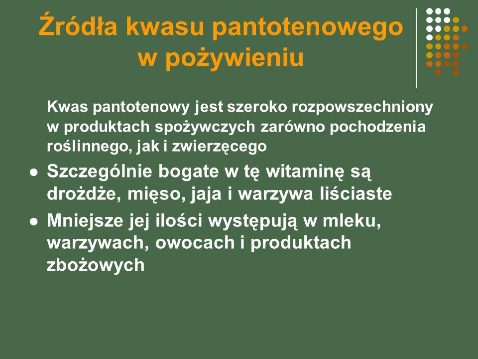 Źródła kwasu pantotenowego w pożywieniu