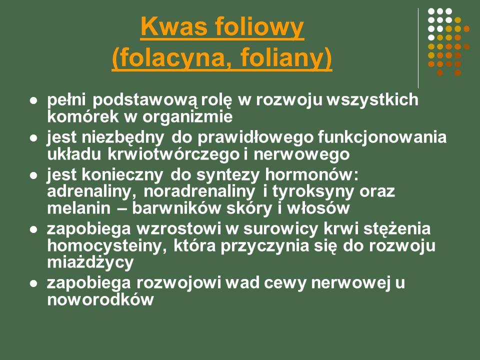 Kwas foliowy (folacyna, foliany)