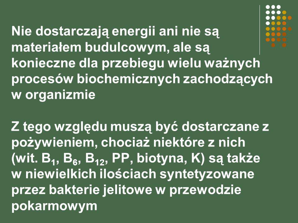 Nie dostarczają energii ani nie są materiałem budulcowym, ale są konieczne dla przebiegu wielu ważnych procesów biochemicznych zachodzących w organizmie Z tego względu muszą być dostarczane z pożywieniem, chociaż niektóre z nich (wit.