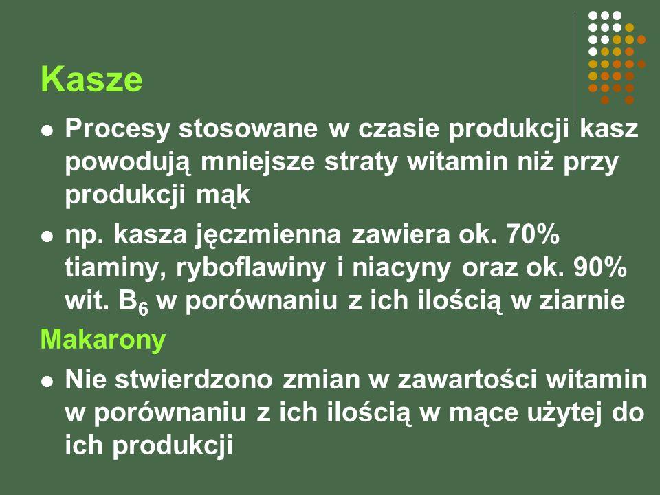 Kasze Procesy stosowane w czasie produkcji kasz powodują mniejsze straty witamin niż przy produkcji mąk.