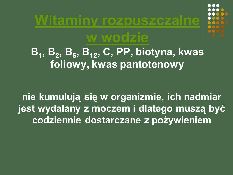 Witaminy rozpuszczalne w wodzie B1, B2, B6, B12, C, PP, biotyna, kwas foliowy, kwas pantotenowy