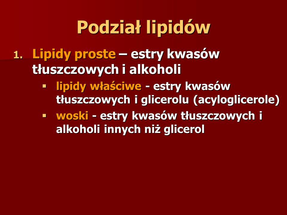 Podział lipidów Lipidy proste – estry kwasów tłuszczowych i alkoholi