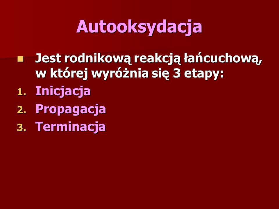 Autooksydacja Jest rodnikową reakcją łańcuchową, w której wyróżnia się 3 etapy: Inicjacja. Propagacja.