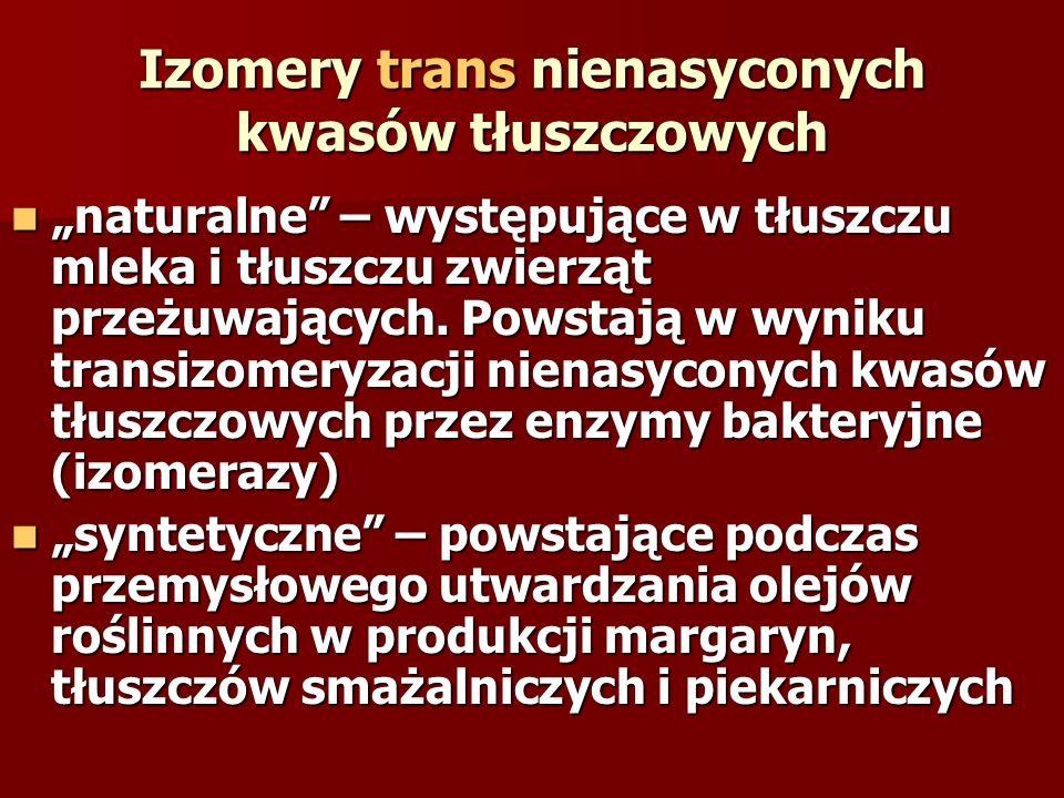 Izomery trans nienasyconych kwasów tłuszczowych