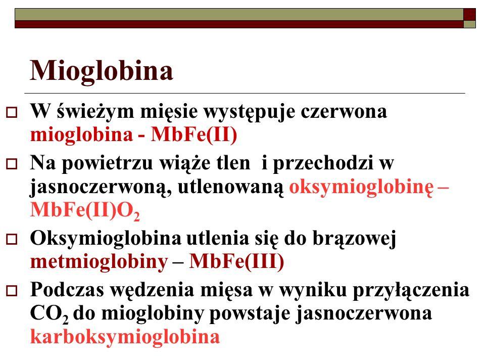 Mioglobina W świeżym mięsie występuje czerwona mioglobina - MbFe(II)