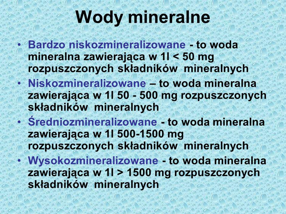 Wody mineralne Bardzo niskozmineralizowane - to woda mineralna zawierająca w 1l < 50 mg rozpuszczonych składników mineralnych.