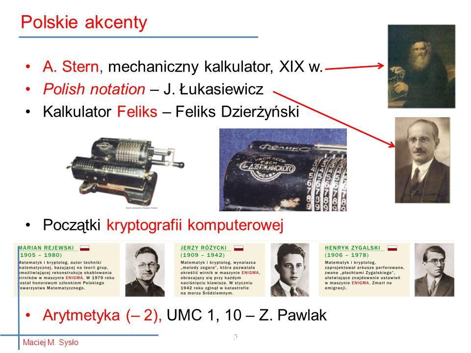 Polskie akcenty informatyka + A. Stern, mechaniczny kalkulator, XIX w.