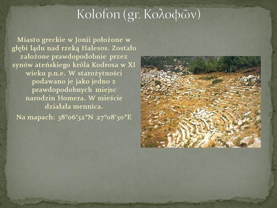 Kolofon (gr. Κολοφῶν)