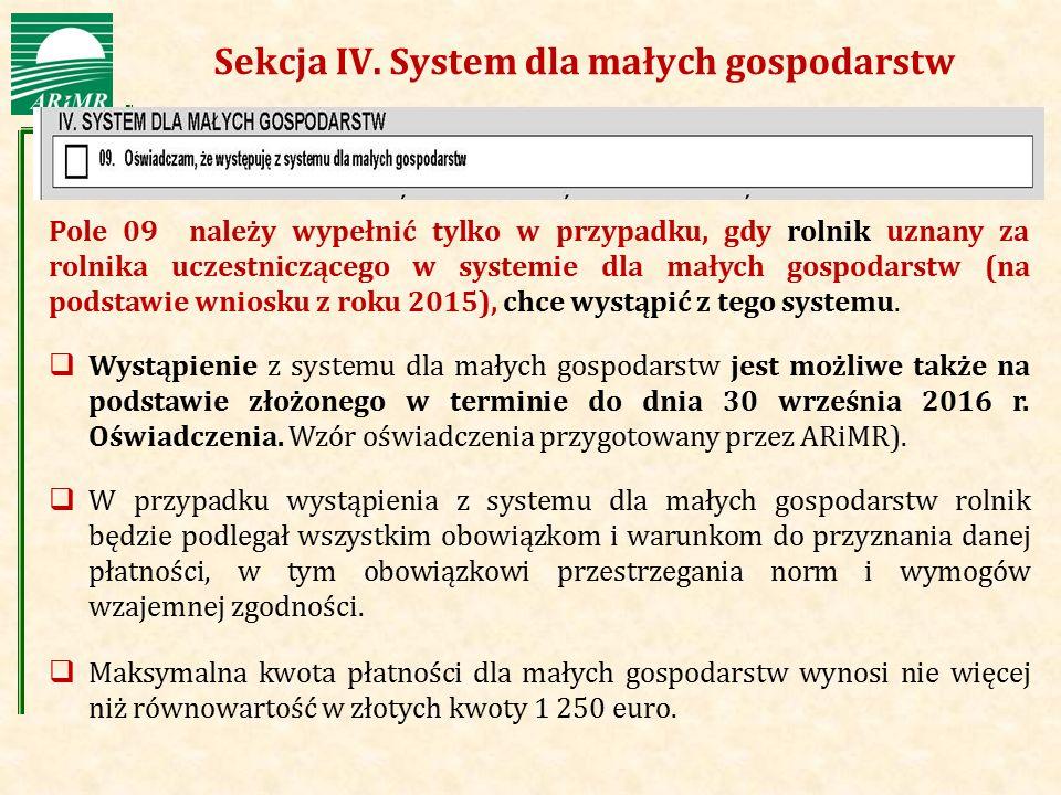 Sekcja IV. System dla małych gospodarstw