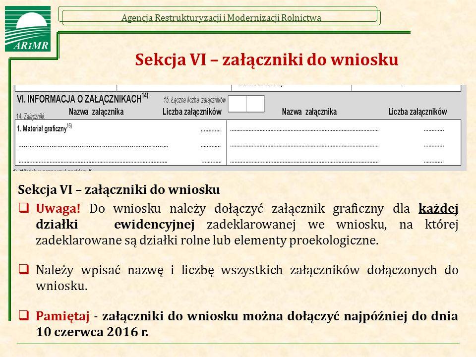 Sekcja VI – załączniki do wniosku