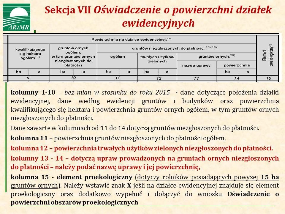 Sekcja VII Oświadczenie o powierzchni działek ewidencyjnych