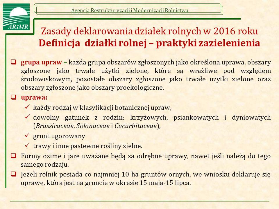 Zasady deklarowania działek rolnych w 2016 roku Definicja działki rolnej – praktyki zazielenienia
