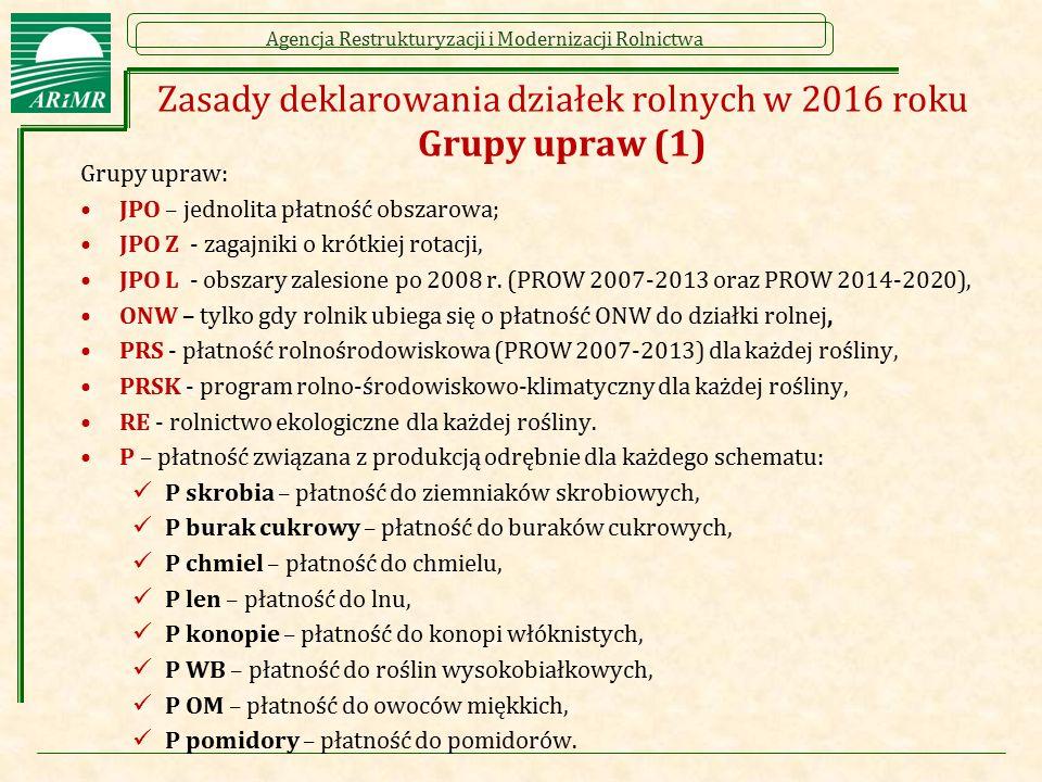Zasady deklarowania działek rolnych w 2016 roku Grupy upraw (1)