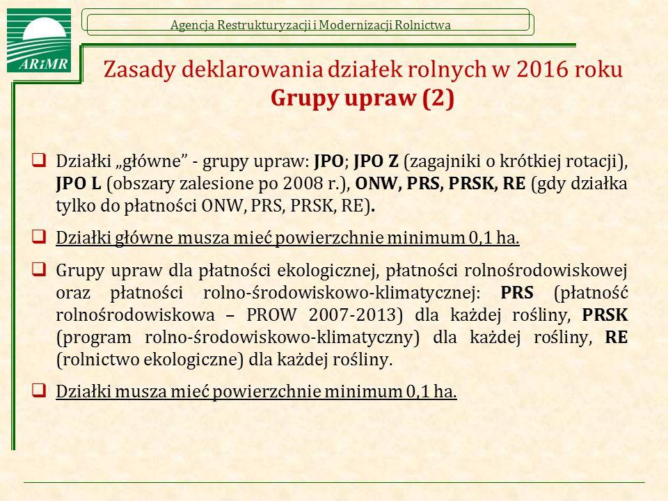 Zasady deklarowania działek rolnych w 2016 roku Grupy upraw (2)