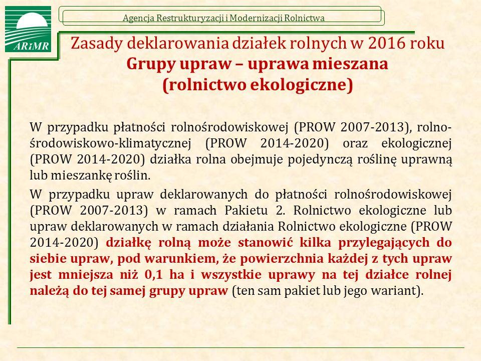 Zasady deklarowania działek rolnych w 2016 roku Grupy upraw – uprawa mieszana (rolnictwo ekologiczne)