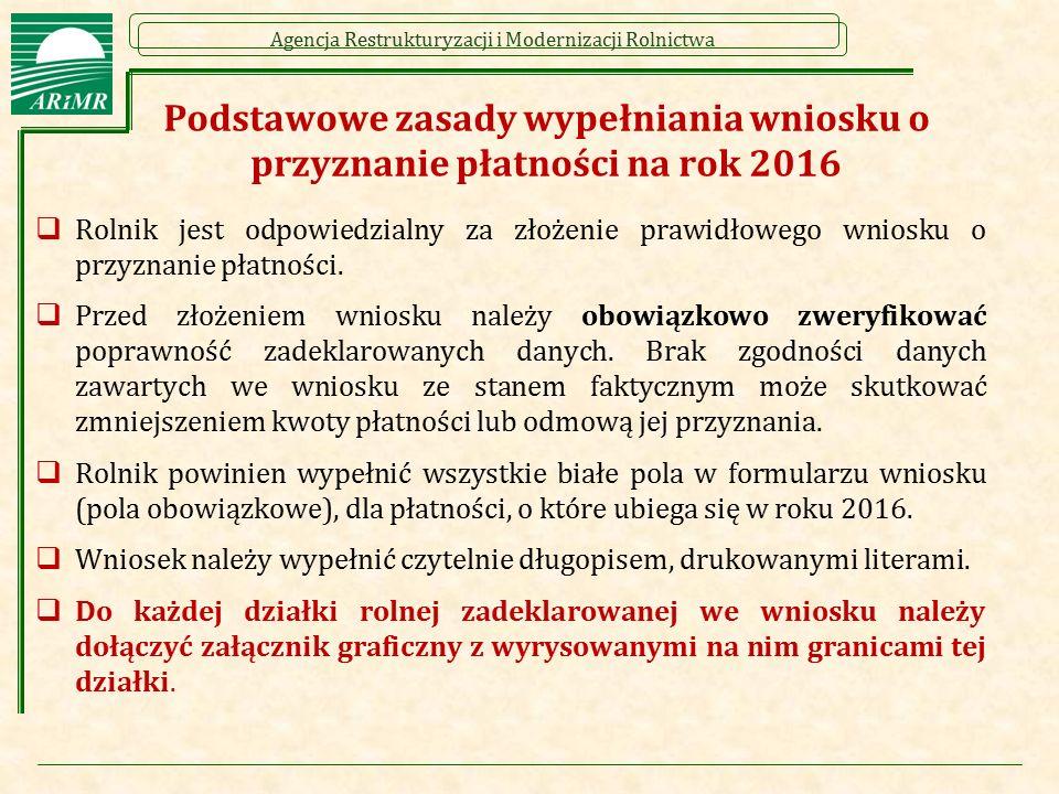 Podstawowe zasady wypełniania wniosku o przyznanie płatności na rok 2016