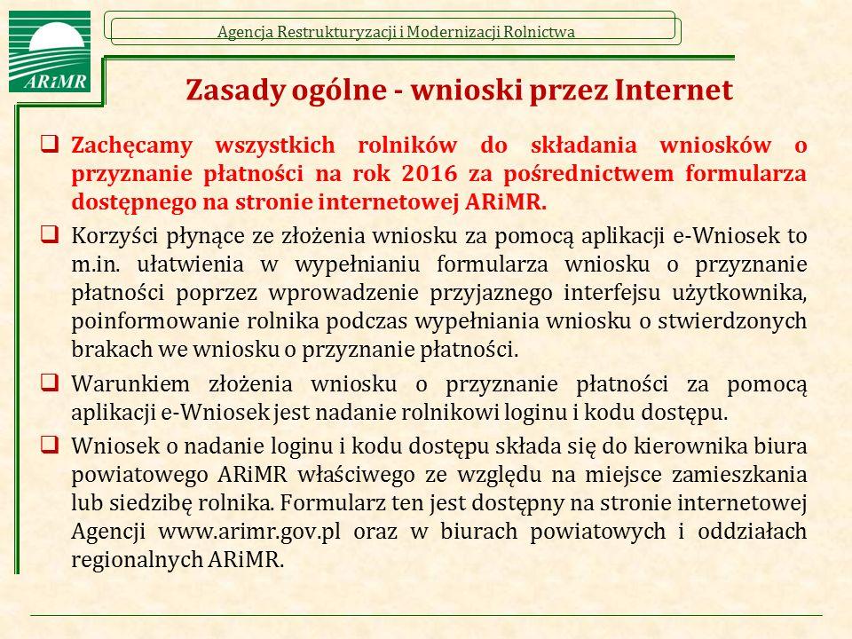 Zasady ogólne - wnioski przez Internet