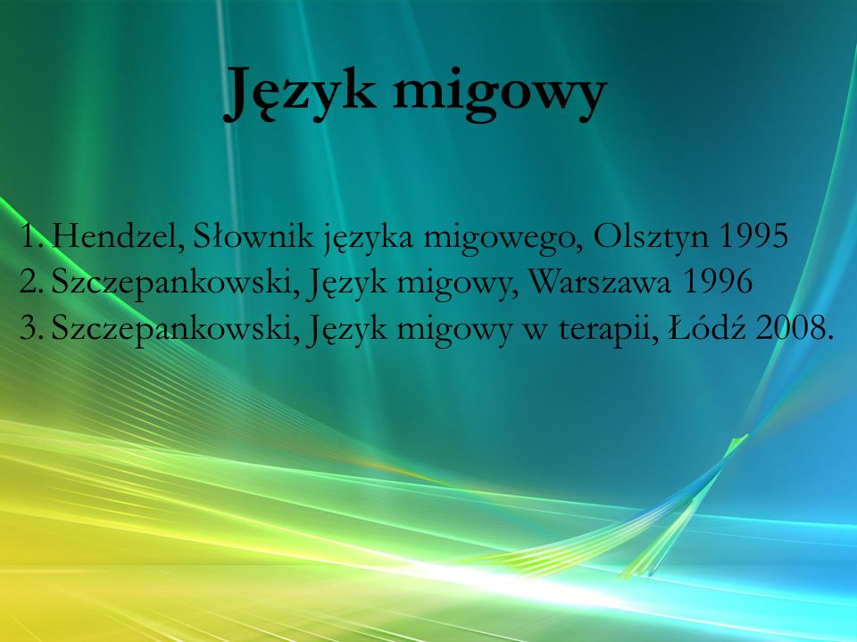 Język migowy Hendzel, Słownik języka migowego, Olsztyn 1995
