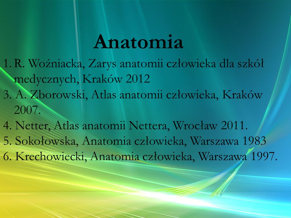 Anatomia R. Woźniacka, Zarys anatomii człowieka dla szkół medycznych, Kraków 2012. 3. A. Zborowski, Atlas anatomii człowieka, Kraków 2007.