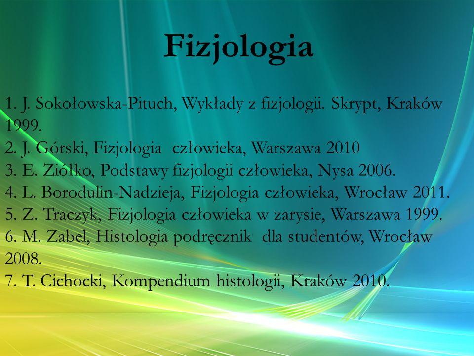Fizjologia 1. J. Sokołowska-Pituch, Wykłady z fizjologii. Skrypt, Kraków 1999. 2. J. Górski, Fizjologia człowieka, Warszawa 2010.