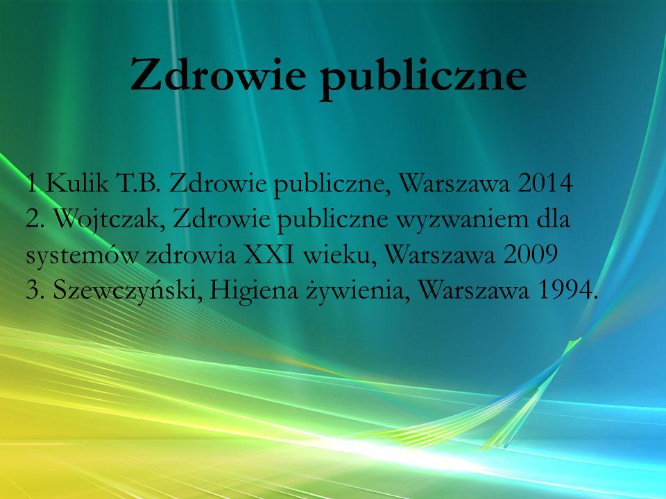 Zdrowie publiczne 1. Kulik T.B. Zdrowie publiczne, Warszawa 2014