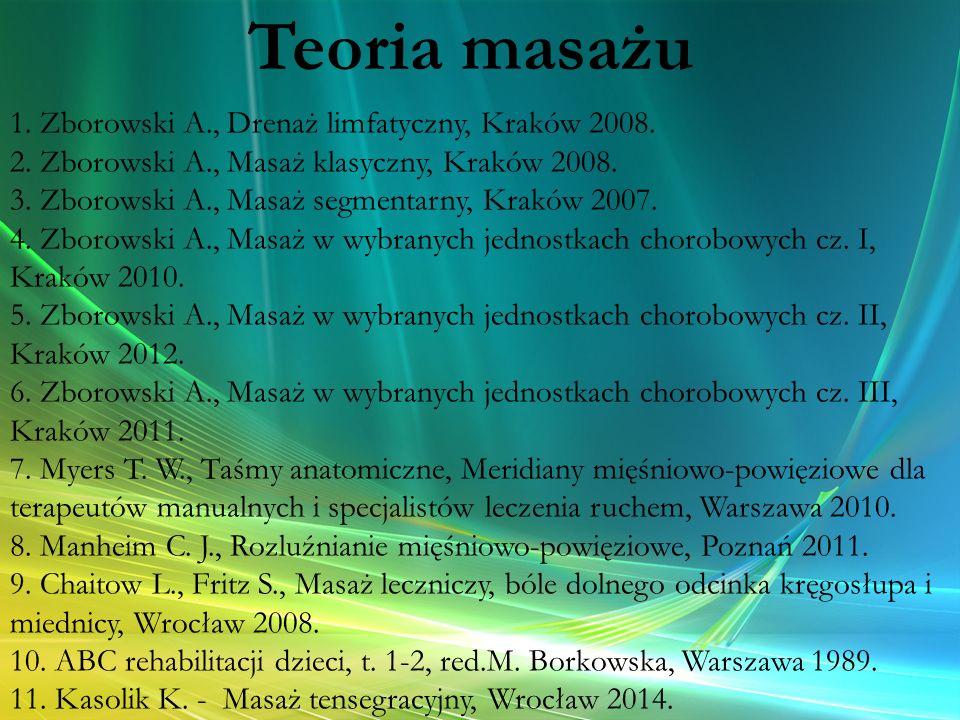 Teoria masażu 1. Zborowski A., Drenaż limfatyczny, Kraków 2008.