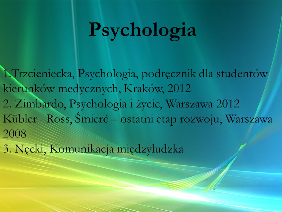 Psychologia 1.Trzcieniecka, Psychologia, podręcznik dla studentów kierunków medycznych, Kraków, 2012.