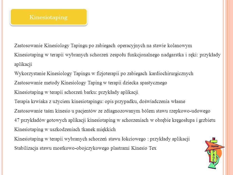 Kinesiotaping Zastosowanie Kinesiology Tapingu po zabiegach operacyjnych na stawie kolanowym.