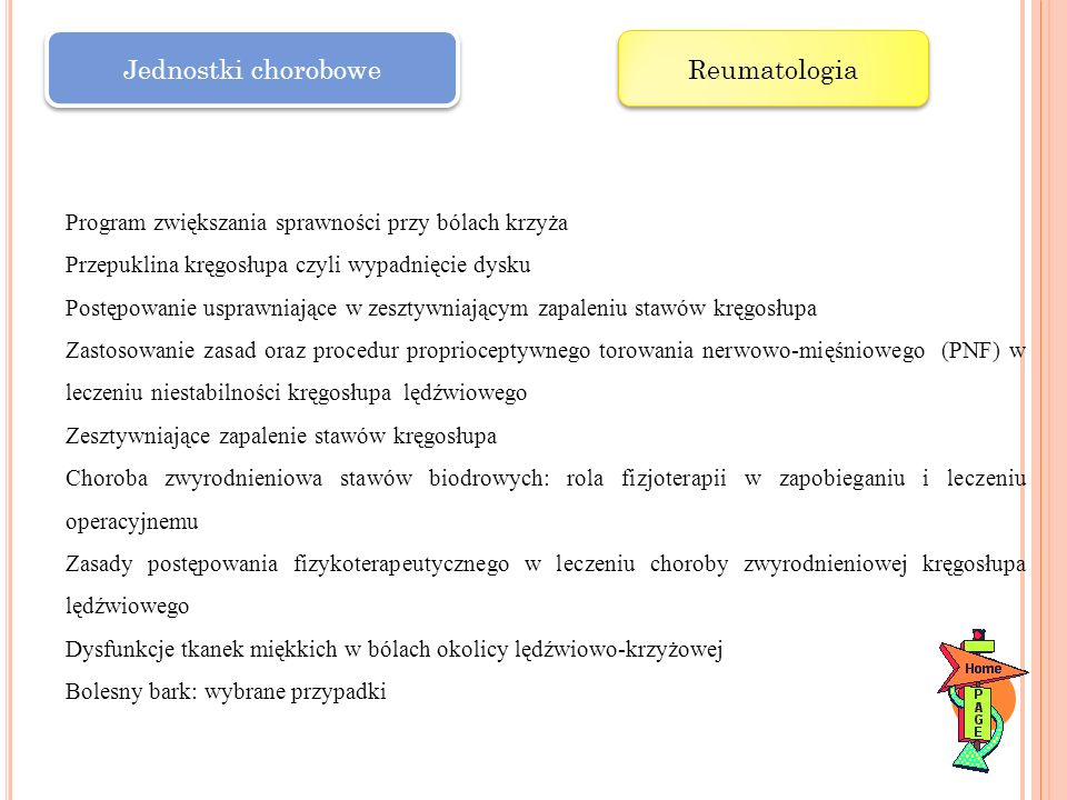 Jednostki chorobowe Reumatologia