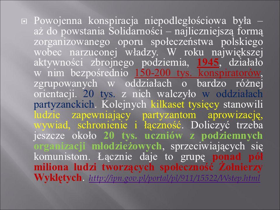 Powojenna konspiracja niepodległościowa była – aż do powstania Solidarności – najliczniejszą formą zorganizowanego oporu społeczeństwa polskiego wobec narzuconej władzy.
